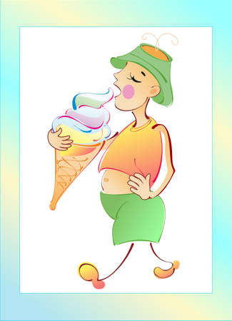 The boy is very proud for him icecream Vector
