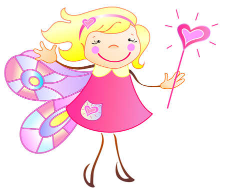 The princess has the wings and magic wand Vector
