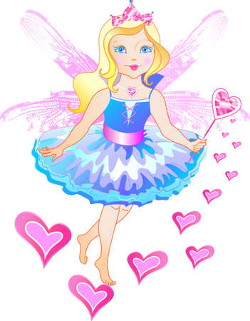 princess dress: The princess has the wings and magic wand Illustration