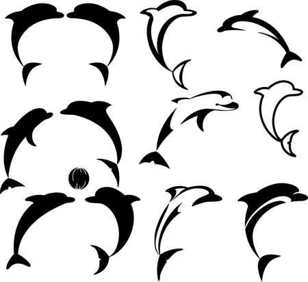 delfini: Questi delfini eventualmente da usare come logotipi Vettoriali