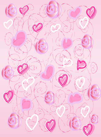 The pink background with hearts and roses Illustration