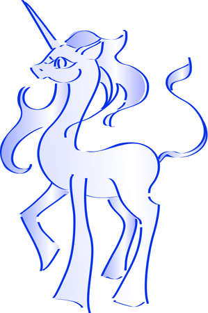 The unicorn have been drawing in lines Vector