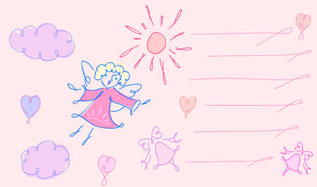 On this greeting card is  angel, sun, hearts and bell Illustration