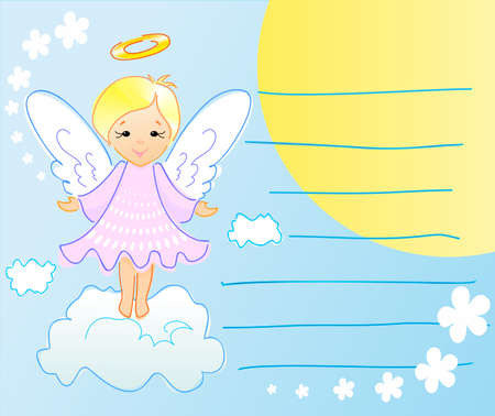 little one: On this greeting card is  angel, sun, flowers and clouds