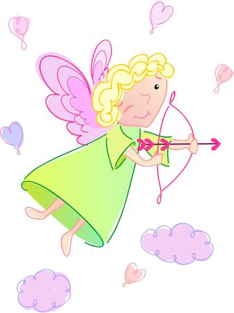 This angel is funny, you can put him on love - card Vector