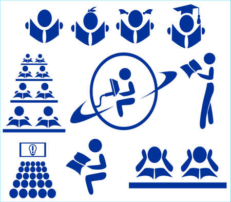 The icons for school, university, internet, library, training Illustration