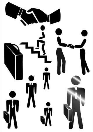 personas saludandose: Los iconos para uso de negocios, código de vestimenta, la carrera Vectores