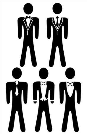 seguridad laboral: Los iconos son código de vestimenta para el hombre, se puede utilizar para fiestas, negocios Vectores