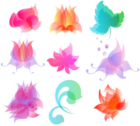 The elements for design the flowers and foliage