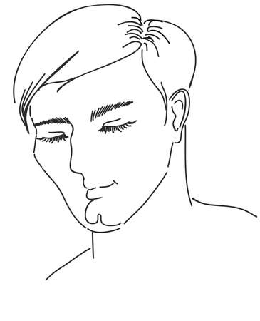 The man had been created graphically, his eyes are closed Illustration