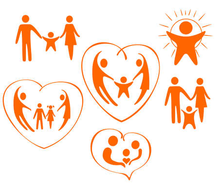 The themes of icons are love, family, child, care Illustration