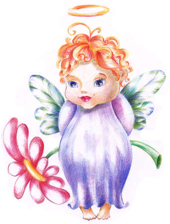 The little angel is hiding the big flower for you