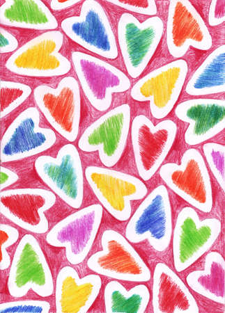 The background for Valentines day created by pencils Stock Photo