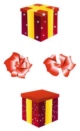 These are two red boxes with the bows