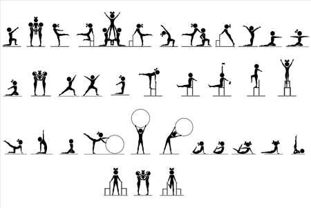 gymnastik: Die eingestellten Zahlen von Menschen in verschiedenen Posen