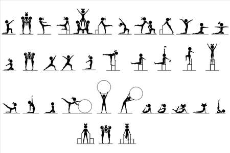 gymnastics: The set figures of humans in different poses Illustration
