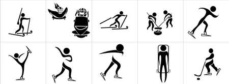 toboggan: Set of silhouettes of winter sport Illustration