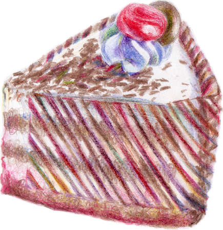 The cake of layers was created pencils