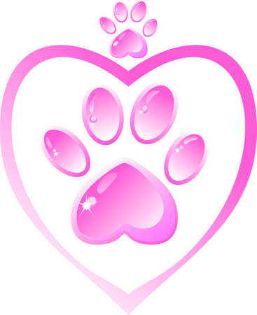 heart with crown: The icon - a pink paw and heart, crown Illustration