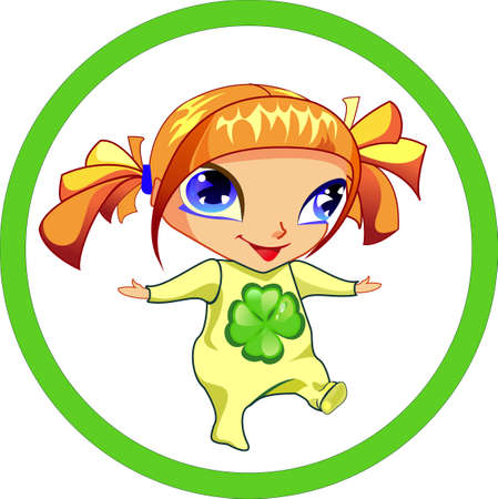 clover face: The cute girl is walking to bring happiness, she has a magic clover