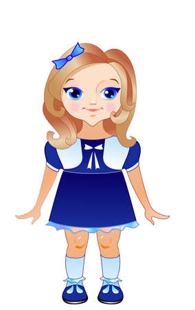 The cute girl has blue eyes, dress, shoes and bow on her head Vector