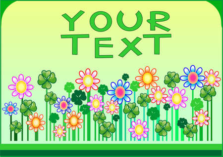 This is a background with flowers and clovers  for your good text