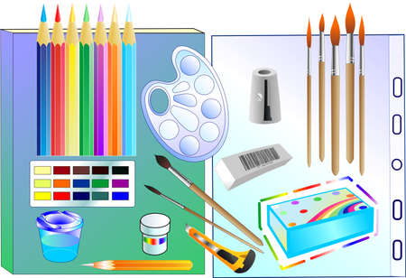 The set consist of many tools for drawing Illustration