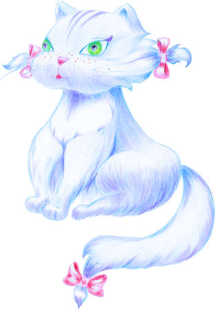 The pussy has nice red bows and green eyes
