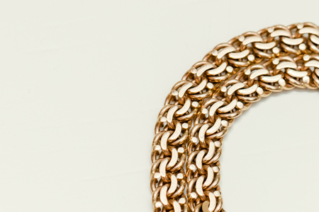 Golden chain on the white background Stock Photo