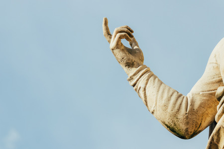 hand of Paul the Apostle of Lutheran Church of St Peter and St Paul over blue sky