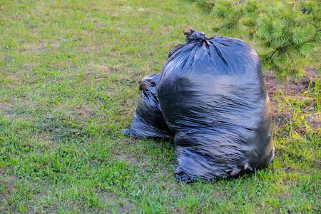 Black full of garbage bags on green lawn Stock Photo