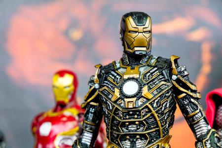 RUSSIA, ST.PETERSBURG - MAY 05, 2018: Iron Man miniature, closeup
