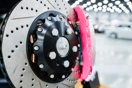 Sports brake discs for the car. Stockfoto
