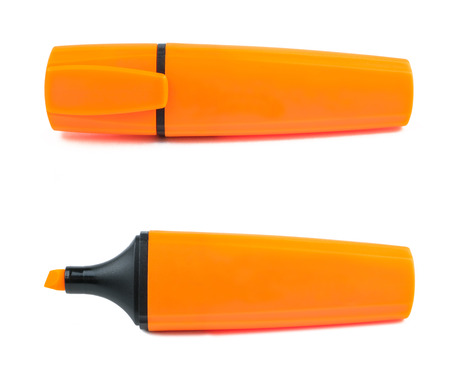 Orange office marker highlighter on a white background. Isolated.