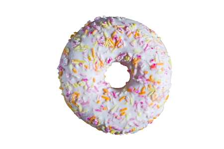 Glazed white donut on white background. Top view. Isolated.