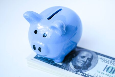 Close up of blue piggy bank is standing on stack of hundred dollar bills.
