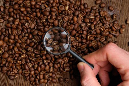The concept of selection of coffee beans in the premium segment. The hand holds a magnifying glass. Top view. Stok Fotoğraf