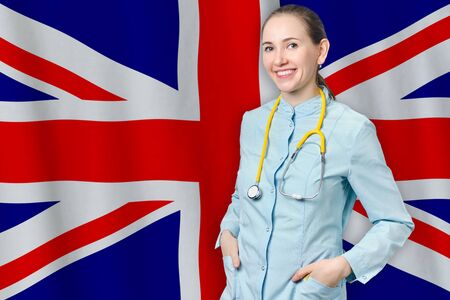 United Kingdom of Great Britain and Northern Ireland healthcare concept with doctor woman on flag background. Medical insurance, work or study in the country