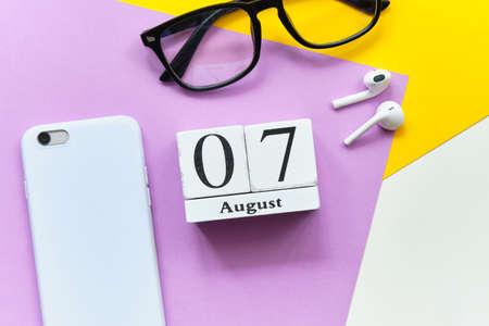 7st august - seventh day month calendar concept on wooden blocks.