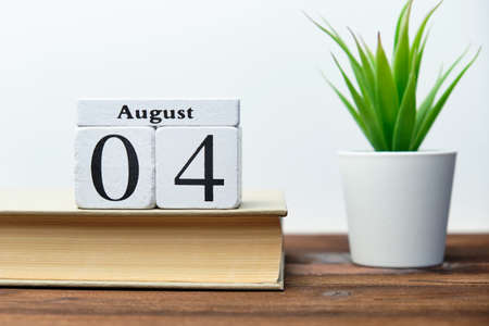 4st august - fourth day month calendar concept on wooden blocks. 写真素材