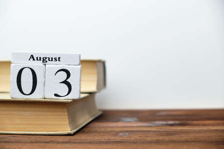 3st august - third day month calendar concept on wooden blocks with copy space.