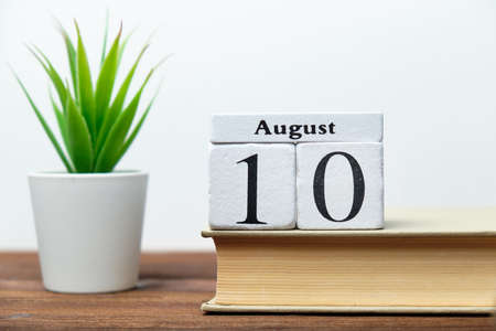 10th august - tenth day month calendar concept on wooden blocks. 写真素材