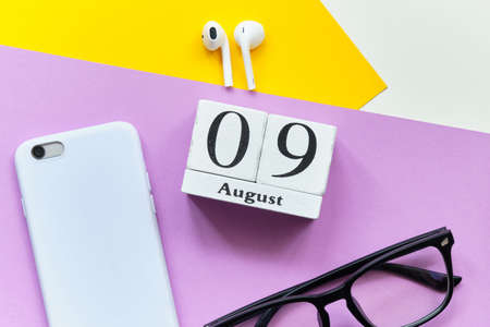 9th august - ninth day month calendar concept on wooden blocks. 写真素材