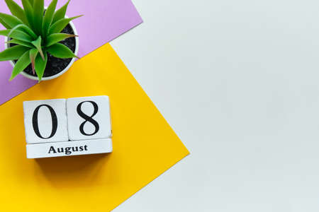 8st august - eighth day month calendar concept on wooden blocks with copy space.