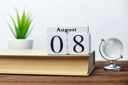 8st august - eighth day month calendar concept on wooden blocks.