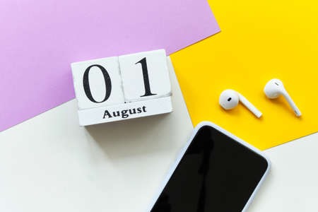 1st august - first day month calendar concept on wooden blocks