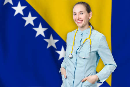 Bosnia and Herzegovina healthcare concept with doctor on flag background. Medical insurance, work or study in the country Banque d'images
