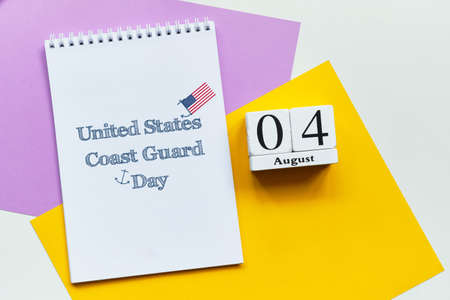 4st august - United States Coast Guard Day. Fourth day month calendar concept on wooden blocks.