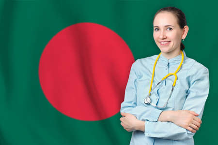 People Republic of Bangladesh healthcare concept with doctor on flag background. Medical insurance, work or study in the country Banque d'images