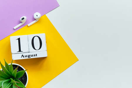 10th august - tenth day month calendar concept on wooden blocks with copy space.